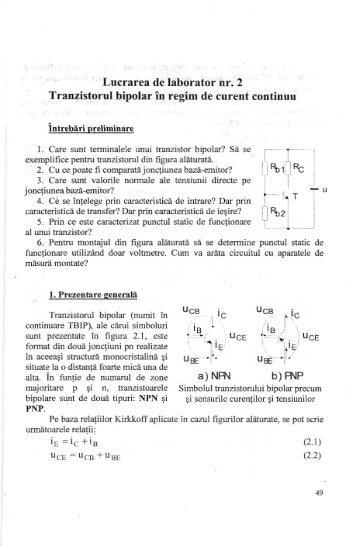 Laborator: Tranzistorul bipolar in curent continuu [pdf] - Andrei