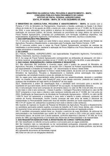 Edital nº 04/2006 - MAPA, de 14 de dezembro de 2006