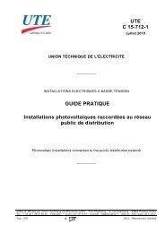 UTE C 15-712-1 GUIDE PRATIQUE Installations photovoltaïques ...
