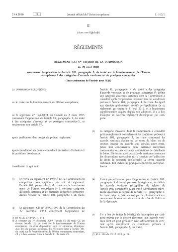 Règlement (UE) no 330/2010 de la Commission du 20 ... - EUR-Lex