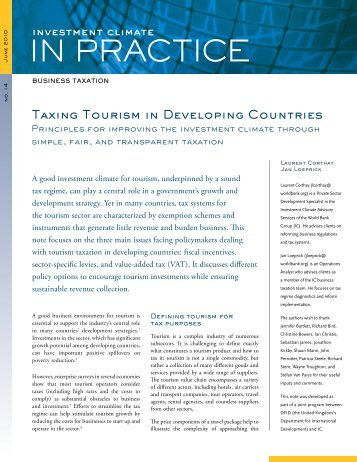 Taxing Tourism in Developing Countries - Investment Climate