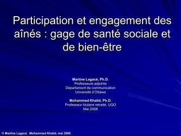 Participation et engagement des aînés dans la société :