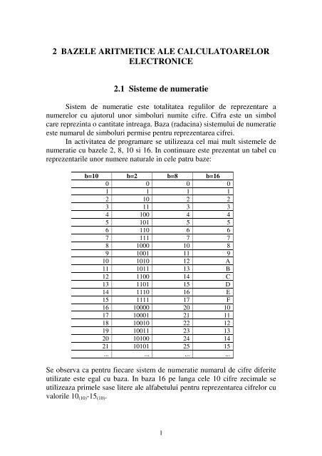 Curs 2 - Bazele aritmetice ale calculatoarelor - derivat