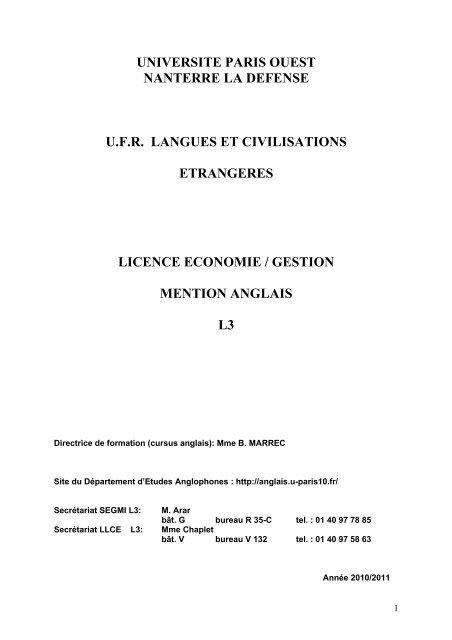 Brochure Bi Licence Economie Gestion Anglais L3