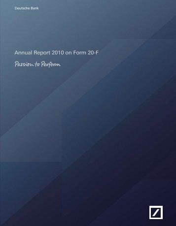 SEC Form 20-F - Deutsche Bank Annual Report 2012