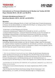Informationen zur Firmware-Aktualisierung für Besitzer der Toshiba ...