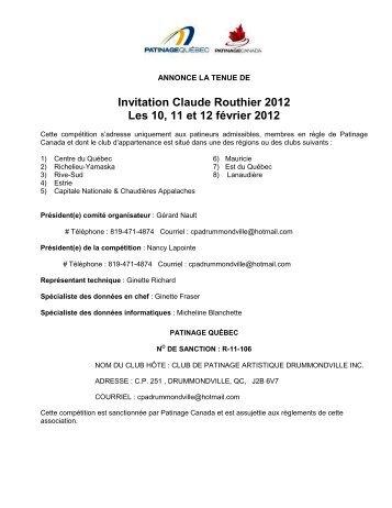 Invitation Claude Routhier - Ville de Sainte-Marie