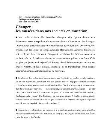 Résumé, conférence et note biographique - Pointe-à-Callière