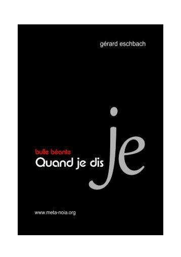 Quand je dis JE - Gerard Eschbach