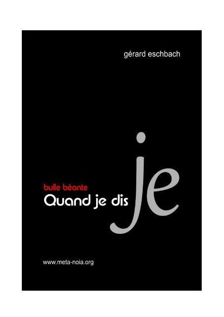 sale uk sale authentic Quand je dis JE - Gerard Eschbach