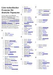 Liste tschechischer Exonyme für deutsche Toponyme