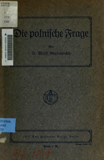 Die Polnische Frage - Dr. Adolf Grabowsky