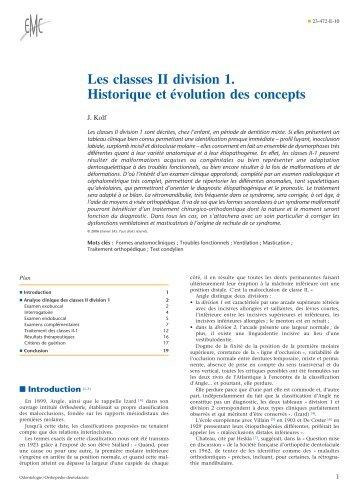 Les classes II division 1. Historique et évolution ... - Belbacha Dental
