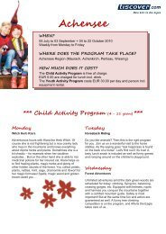 Achensee *** Child Activity Program (4 - 11 years) - Tiscover