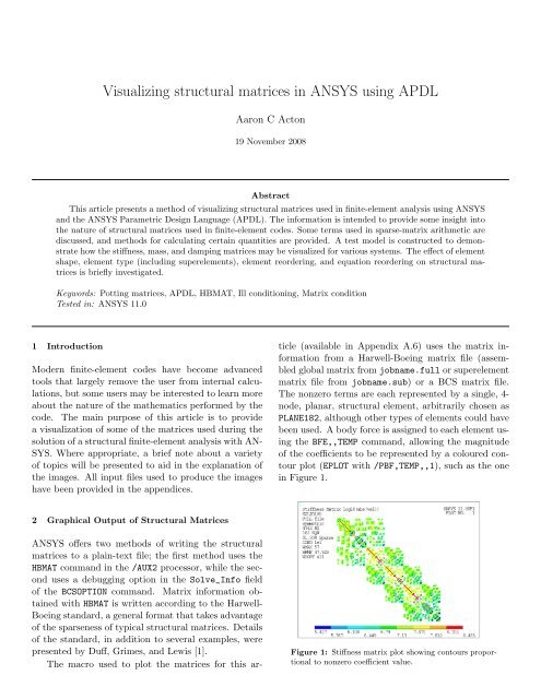 Visualizing structural matrices in ANSYS using APDL - ANSYS