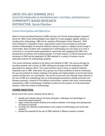Cultural Anthropology- Community Research