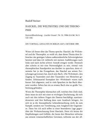 Haeckel, die Welträtsel und die Theosophie - Rudolf Steiner Online ...
