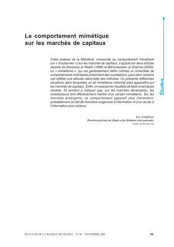 Le comportement mimétique sur les marchés de capitaux - Bulletin ...