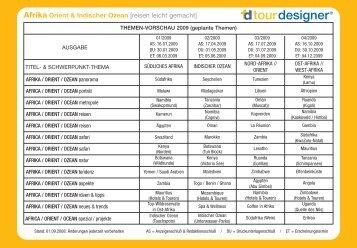 Termine und Themenplan Afrika, Orient ... - Semm Marketing