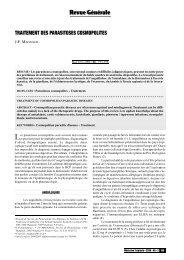 Traitement des parasitoses cosmopolites - Revue Médecine Tropicale