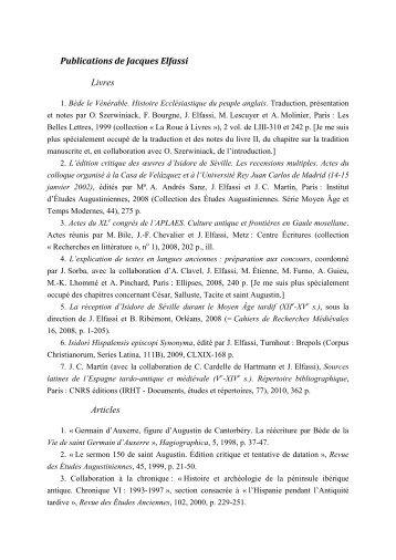 Publications de Jacques Elfassi Livres Articles - Antiquité classique ...