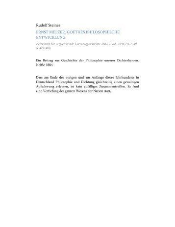 Ernst Melzer. Goethes philosophische Entwicklung