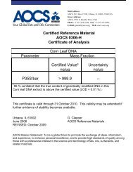 Certified Reference Material AOCS 0306-H Certificate of Analysis ...