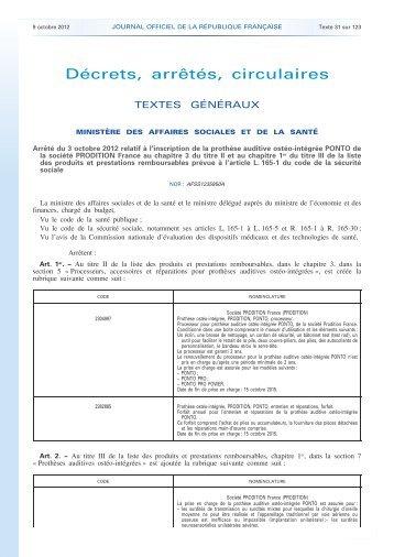 Journal officiel de la République française - Aides Auditives à ...