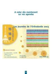 Dimanche 17 Novembre 2002 - Fédération Française d'Orthodontie