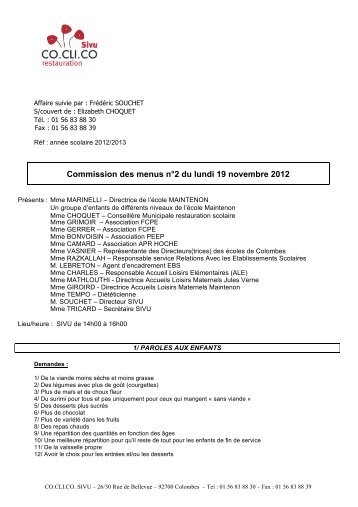 Commission des menus n°2 du lundi 19 novembre 2012 (.pdf - 624 ...