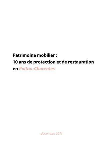 Patrimoine mobilier : 10 ans de protection et de restauration en ...