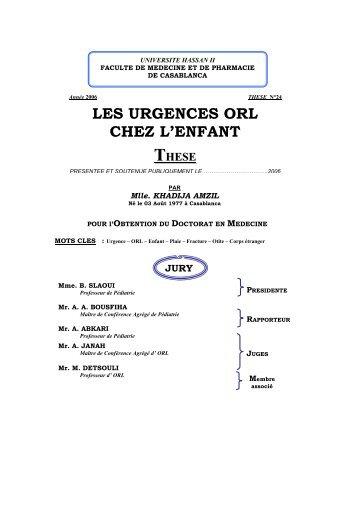 LES URGENCES ORL CHEZ L'ENFANT - Toubkal