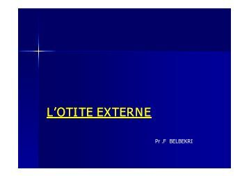 L'OTITE EXTERNE