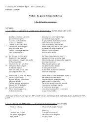 Atelier : La poésie lyrique médiévale - Conjointures