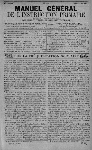 MANUEL GÉNÉRAL DE L'INSTRUCTION PRIMAIRE - INRP