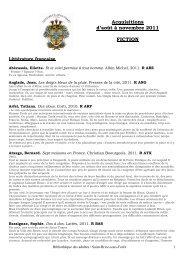 Acquisitions août-novembre 2011 - Saint-Brice-sous-Forêt