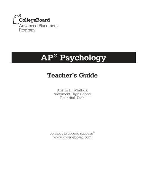 AP Psychology Teacher S Guide 1 6MB AP Central College