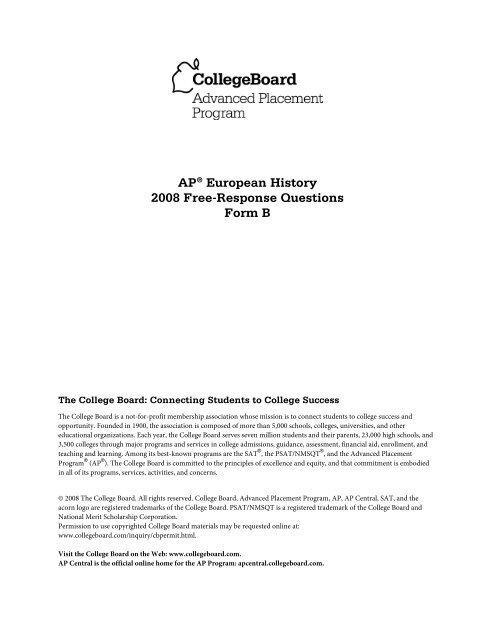 AP European History 2008 Free Response Questions Form B