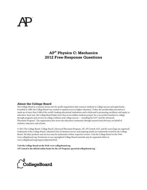 AP Physics C Mechanics 2012 Free Response College Board