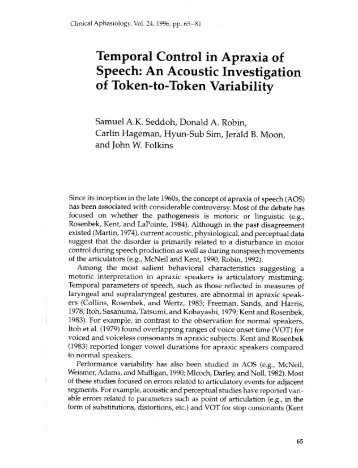 Temporal Control in Apraxia of Speech: An Acoustic ... - Aphasiology