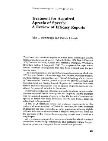 Treatment for Acquired Apraxia of Speech: A Review ... - Aphasiology