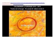 Calendrier liturgique 2012-2013