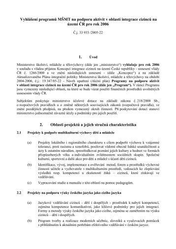 Vyhlášení programů MŠMT na podporu aktivit v oblasti integrace ...