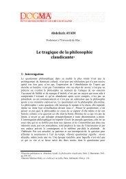 Le tragique de la philosophie claudicante* - Dogma