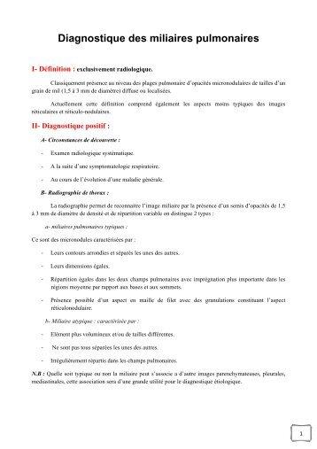 Diagnostic des miliaires - Aurespneumo....