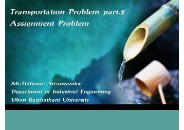 Transportation Problem part.2 Assignment Problem