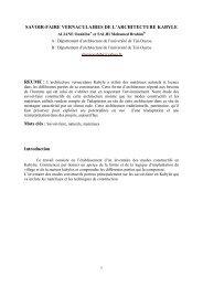 SAVOIR-FAIRE VERNACULAIRES DE L'ARCHITECTURE KABYLE ...