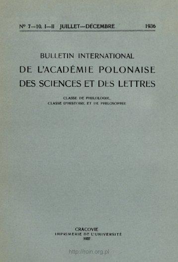 DE L'ACADÉMIE POLONAISE DES SCIENCES ET DES LETTRES