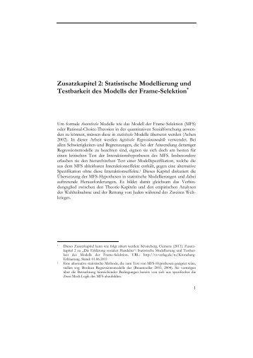 Zusatzkapitel 2: Statistische Modellierung und Testbarkeit des ...