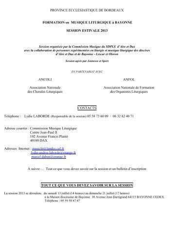 Programme et bulletin d'inscription - Session Juillet 2013